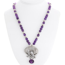 Amethyst Bead Necklace Silver Leopard Pendant 40144