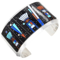Vintage Inlaid Night Sky Kachina Bracelet 40148