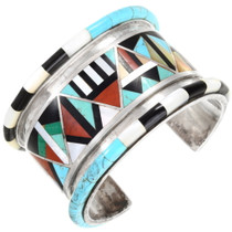 Turquoise Inlay Native American Silver Bracelet 40150