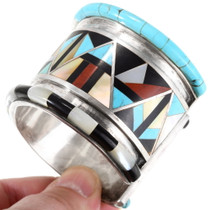 Native American Geometric Design Gemstone Cuff Bracelet 40150