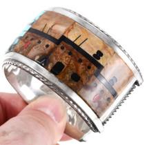 Adobe Pueblo Zuni Micro Inlay Silver Bracelet 40152