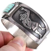 Old Pawn Sterling Silver Kachina Turquoise Bracelet 40153