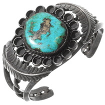 Natural Blue Diamond Turquoise Silver Cuff Bracelet 40159