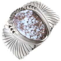 Vintage Boulder Opal Silver Navajo Cuff Bracelet by Juan Abeyta 1406