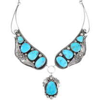 Old Pawn Natural Turquoise Silver Navajo Necklace 40175