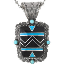 Vintage Turquoise Inlay Sterling Silver Pendant