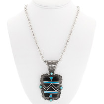 Large Native American Turquoise Pendant Necklace