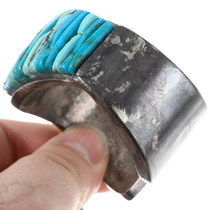Native American Cobblestone Turquoise Sterling Silver Cuff Bracelet 40182