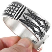 Deep Hand Hammered Navajo Pattern Silver Bracelet 40183