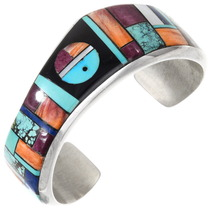 Vintage Navajo Turquoise Gemstone Inlay Bracelet 40186