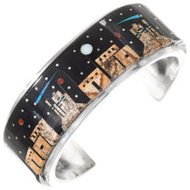 Detailed Micro Inlay Night Sky Navajo Bracelet 40187