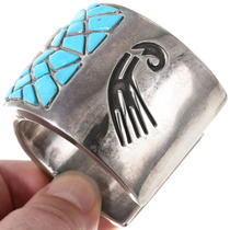 Navajo Sterling Silver Turquoise Inlay Bracelet 40190