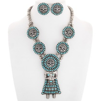 Turquoise Sunface Kachina Necklace Earrings Set 40194