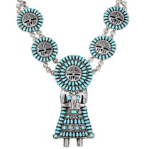 Navajo Kachina Necklace Turquoise Sterling Silver 40194