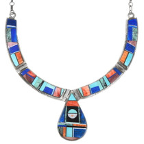 Turquoise Lapis Spiny Oyster Sterling Silver Necklace 40195