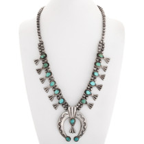 Old Pawn Turquoise Squash Blossom Necklace 40198