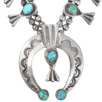 Vintage Sleeping Beauty Turquoise Sterling Silver Navajo Necklace 40198