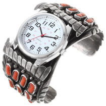 Old Pawn Navajo Mediterranean Coral Watch Cuff 40201