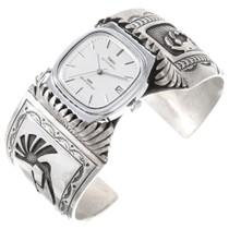 Sterling Silver Navajo Kachina Kokopelli Watch Cuff 40204