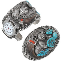 Old Pawn Turquoise Coral Bear Claw Watch Belt Buckle Set 40208