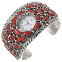 Old Pawn Native American Coral Watch Bracelet 40209