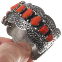 Native American Red Coral Old Pawn Watch Cuff 40210