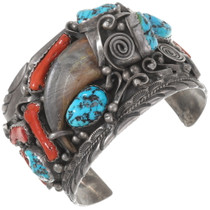 Large Vintage Turquoise Bear Claw Silver Cuff Bracelet 40217