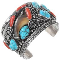 Vintage Turquoise Genuine Bear Claw Navajo Bracelet 40218