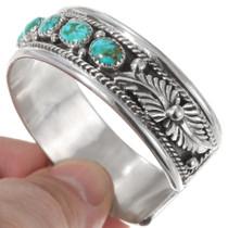 Navajo Sterling Silver Carico Lake Turquoise Bracelet 40224