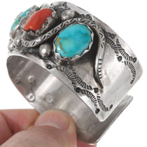 Coral Turquoise Sterling Silver Cuff Bracelet