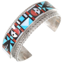 Zuni Geometric Inlay Sterling Silver Bracelet 40229