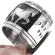 Large Silver Horse Design Cuff Bracelet Tommy Singer 40154