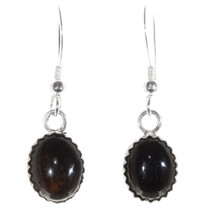 Native American Onyx French Hook Earrings 40237