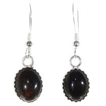 Native American Onyx French Hook Earrings 40237