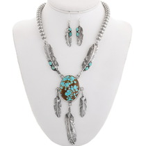 Spiderweb Turquoise Silver Feather Necklace Set 40239