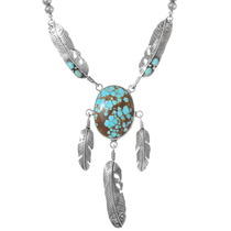 Number 8 Turquoise Sterling Silver Feather Necklace 40239