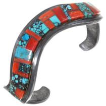Vintage Navajo Turquoise Spiny Oyster Zig Zag Bracelet 40244