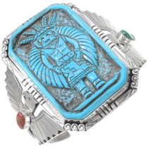 Carved Turquoise Kachina Sterling Silver Cuff Bracelet 40245