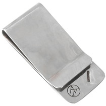 Navajo Silver Turquoise Cannabis Leaf Money Clip 40258