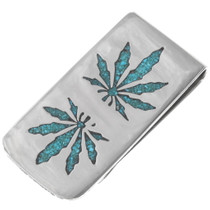 Turquoise Marijuana Leaf Money Clip 40259
