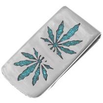 Turquoise Marijuana Leaf Money Clip 40259