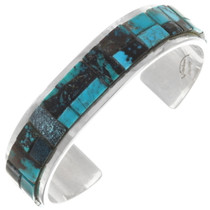 Vintage Turquoise Inlay Silver Cuff Bracelet 40264