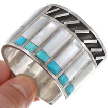 Turquoise Shell Inlay Apache Crown Dancer Silver Bracelet 40266