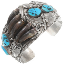 Vintage Navajo Turquoise Bear Claw Bracelet 40268