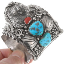 Sterling Silver Bear Coral Turquoise Cuff Bracelet 40269