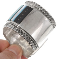Sterling Silver Cuff Inlaid Gemstone Kachina Bracelet 40272