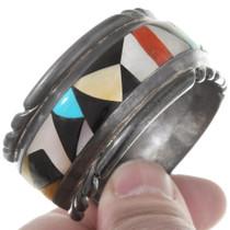 Turquoise Coral Zuni Geometric Pattern Cuff Bracelet 40274
