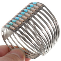 Turquoise Lapis Inlay Sterling Silver Zuni Cuff Bracelet 40275