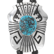 Natural Turquoise Sterling Silver Navajo Bolo Tie 40279
