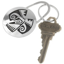 Native American Pueblo Bird Silver Key Ring 40285